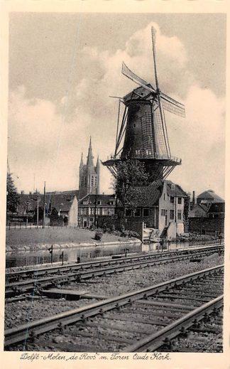 Ansichtkaart Delft Molen de Roos m. Toren Oude Kerk en spoorlijn Spoorwegen 1939 HC609