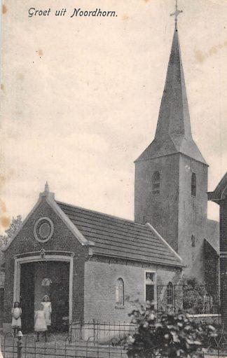 Ansichtkaart Noordhorn Groeten uit Noordhorn N.H. Kerk 1918 HC610
