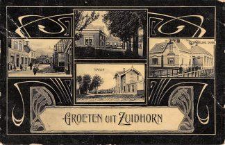 Ansichtkaart Zuidhorn Groeten uit Zuidhorn Station Christelijke School 1908 HC627