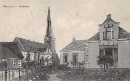 Ansichtkaart Zuidhorn Groeten uit Zuidhorn met kerk en villa 1912 HC631