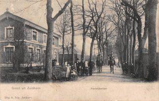 Ansichtkaart Zuidhorn Frankrijkerlaan met militair te paard 1906 HC634