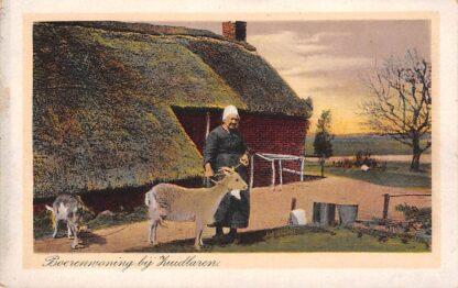 Ansichtkaart Zuidlaren Boerenwoning  Boerin in klederdracht met geiten HC67