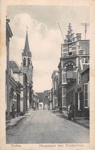 Ansichtkaart Tholen Hoogstraat met Postkantoor 1923 HC684
