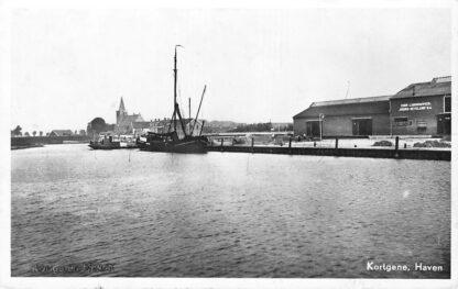 Ansichtkaart Kortgene Haven Binnenvaart schepen Coöp. Landbouwver. Noord-Beveland HC696
