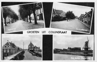 Ansichtkaart Colijnsplaat Groeten uit  Voorstraat Val. Molen Nieuwe Weg Bij de haven Oostkerkstraat 1939 HC699