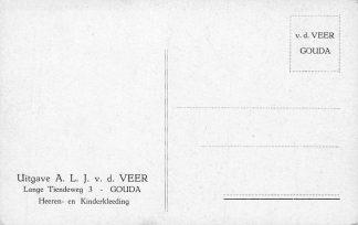 Ansichtkaart Fantasie Gouda Reclame A.L.J. v.d. Veer Lange Tiendeweg 3 Heeren- en Kinderkleeding Illustrator Gerstenhauer HC706