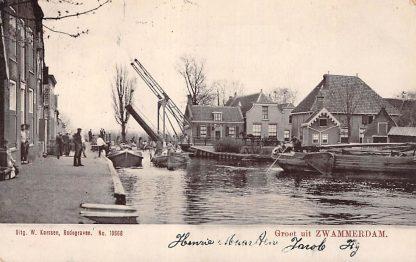 Ansichtkaart Zwammerdam Brug Binnenvaart schepen Bodegraven 1905 HC715