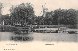 Ansichtkaart Middelburg Palingvisscherij Molen 1909 HC73