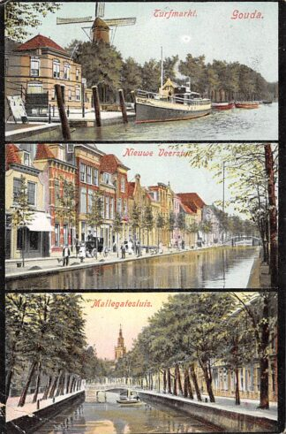 Ansichtkaart Gouda Molen IJssel Stoomboot Turfmarkt Haven 1906 HC733