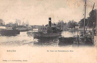 Ansichtkaart Gouda Rotterdamsche Boot Reederij De IJssel Scheepvaart Schepen Swartsenburg HC743