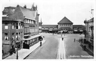 Ansichtkaart Eindhoven Stationsplein Station Hotel Oranje Sigarenwinkel 1947 HC756