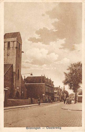Ansichtkaart Groningen Oosterweg met kerk HC781