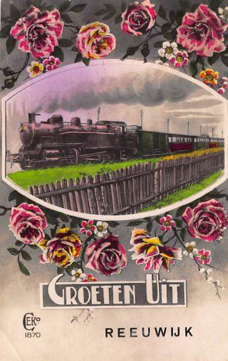 Ansichtkaart Reeuwijk Groeten uit  met stoomtrein Treinen Spoorwegen HC845