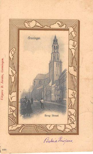 Ansichtkaart Groningen 1902 Brug straat HC848