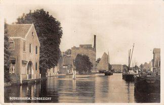 Ansichtkaart Bodegraven Rijngezicht met fabriek en binnenvaart schepen 1937 HC861
