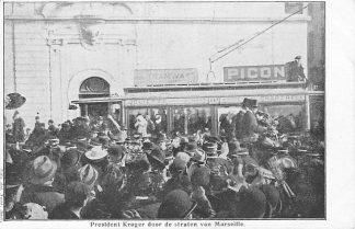 Ansichtkaart Zuid-Afrika Boerenoorlog 1900 President Kruger door de straten van Marseille Afrika HC880