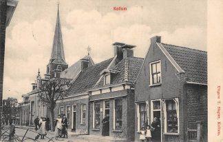 Ansichtkaart Kollum Café de Lindeboom Dorpsstraat Kerk HC890