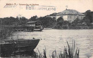Ansichtkaart Waren i. M. Tielwaren-See mit Schulhaus Duitsland HC893