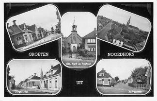 Ansichtkaart Noordhorn Groeten uit Laagestraat Molen Gereformeerde Kerk Pastorie Langestraat Noorderweg 1953 HC914