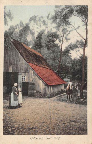 Ansichtkaart Geldersch Landschap Klederdracht Boerderij Paard Veluwe HC923