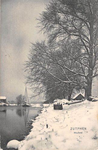 Ansichtkaart Zutphen Houtwal in de sneeuw en binnenvaart schepen 1907 HC928