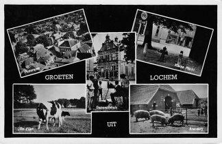 Ansichtkaart Lochem Groeten uit Lochem De Enk Gemeentehuis Boerderij Kleine Markt HC999