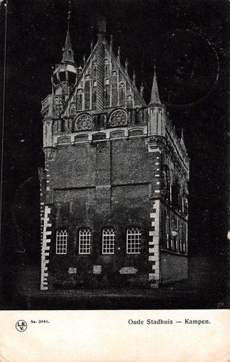 Ansichtkaart Kampen 1908 Oud Stadhuis bij nacht HC1547
