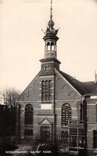 Ansichtkaart Bodegraven Newo fotokaart Gereformeerde Kerk 1937 HC1601