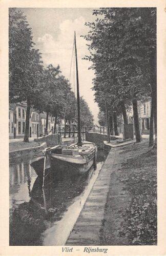 Ansichtkaart Rijnsburg Vliet met binnenvaart schip HC1602