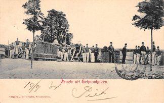 Ansichtkaart Schoonhoven Groeten uit 1904 Militair Soldaten met artillerie De Gruijter HC1610