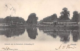 Ansichtkaart Gouda Gompers 1904 Bolwerk met Salonboot Volharding II Stoomschip Boskoop Binnen vaart schepen HC1632