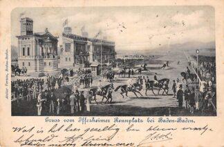 Ansichtkaart Baden-Baden 1900 Gruss vom Iffezheimer Rennplatz Duitsland Paard rennen HC1667
