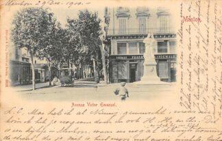 Ansichtkaart Menton 1900 Avenue Victor Emanuel Frankrijk HC1670