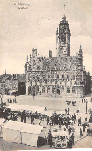 Ansichtkaart Middelburg Stadhuis IJsverkoper Markt 1915 HC1683