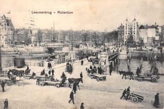 Ansichtkaart Rotterdam 1913 Leeuwenbrug Paard en wagen HC1686