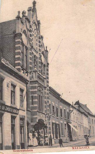 Ansichtkaart Meerssen Gemeentehuis en Cafe De Zwarte Ruiter HC1709