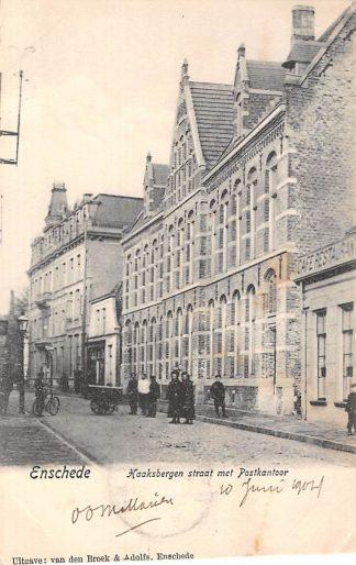 Ansichtkaart Enschede 1904 Haaksbergenstraat met Postkantoor HC1710