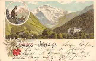 Ansichtkaart Interlaken Gruss aus 1899 Litho Karl Kunzli Zwitserland HC1746