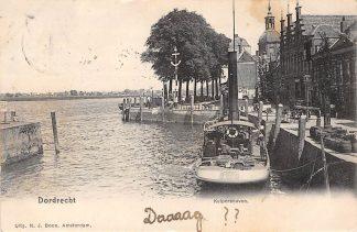 Ansichtkaart Dordrecht 1902 Kuipershaven met sleepboot schepen HC1772