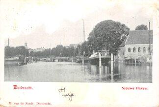 Ansichtkaart Dordrecht Nieuwe Haven 1902 Binnenvaart schepen HC1774