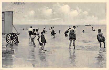 Ansichtkaart Zandvoort Groeten uit 1938 In het bad Strand en zee HC1831
