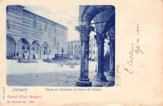 Ansichtkaart Peugia Piazza del Municipio col Fiancodel Duomo 1903 Grand Hotel Brufani Italië Italia HC1842