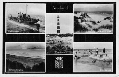 Ansichtkaart Ameland Vuurtoren Veerpont Waddenzee Strand 1951 HC1883