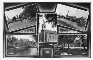 Ansichtkaart Oostermeer 1957 Groeten uit Kerk Oude Toren Brug Breed De Haven HC1912