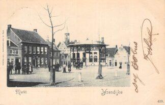 Ansichtkaart IJzendijke Markt met muziektent en volk 1900 HC1964