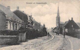 Ansichtkaart Ossendrecht Groeten uit 1918 Dorpsgezicht met kerk HC1981