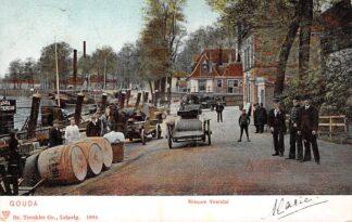 Ansichtkaart Gouda Nieuwe Veerstal met aanlegplaats Reederij De IJssel Rotterdam Tolhuis Schepen 1904 HC2085