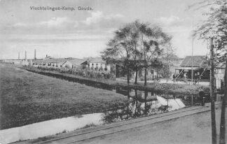 Ansichtkaart Gouda WO1 Vluchtelingen-Kamp België op de Graaf Florisweg Tramspoor HC2095