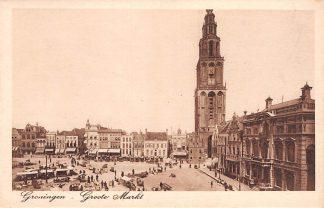 Ansichtkaart Groningen Groote Markt met marktkramen en volk HC2183