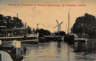 Ansichtkaart Gouda Bolwerk Aanlegplaats Stoomboot Mij De Volharding naar Boskoop Molen De Korenblom 1908 HC2247